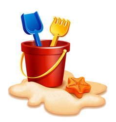 sand bucket shovel and rake vector image
