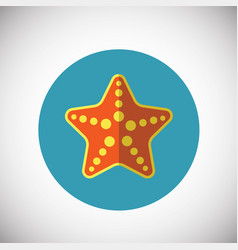 Sea star on flat background vector