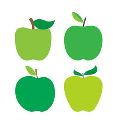 set of fresh green apples with green leafs vector image