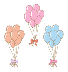 set of pastel balloons with ribbons vector image
