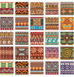 set seamless color ethnic tribal pattern vector image