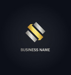 shape letter s company gold logo vector image