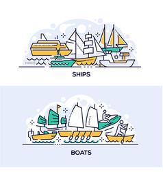 Ships and boats banner templates set vector