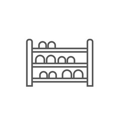 Shoe rack isolated icon in linear style vector