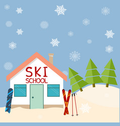 skiing winter season ski school mountains and vector image