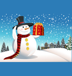 snowman holding christmas present vector image