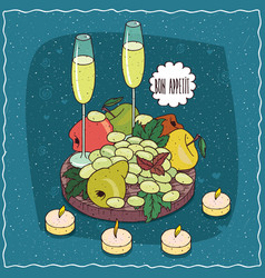 still life composition with champagne or cider vector image