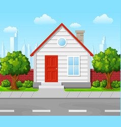 Suburban house with tree and city background vector