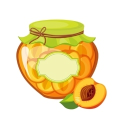 Sweet Apricot Orange Jam Glass Jar Filled With vector