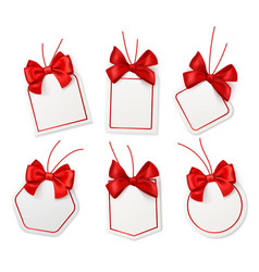 tags with red bows blank white price vector image