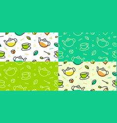 Tea pattern green leaf cup pot memphis outline vector