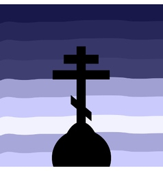 The Orthodox Cross at sunset background vector image