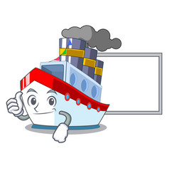 Thumbs up with board ship in the transportation vector