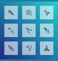Tools icons line style set with tape measure vector