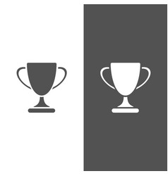 trophy icon on black and white background vector image