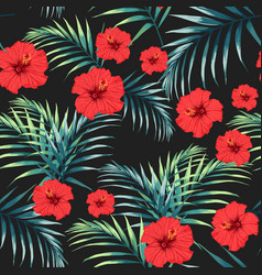 tropical leaves and paradise hibiscus vector image