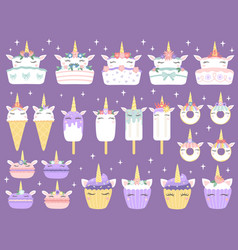 unicorn desserts unicorns macaron delicious vector image