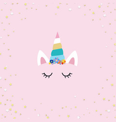 unicorn face with pink background vector image
