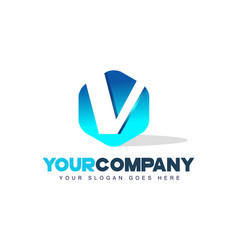 v letter logo hexagon shape modern design vector image vector image