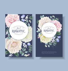 vintage floral banners with garden roses vector image