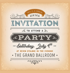 vintage invitation to a party card vector image
