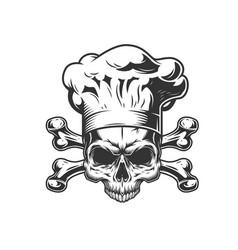 Vintage monochrome chef skull vector