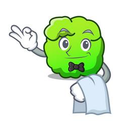 Waiter shrub mascot cartoon style vector