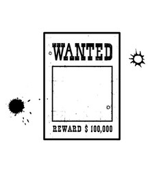 Wanted poster for portrait american western vector