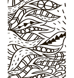 Wave leaves coloring book for adult vector