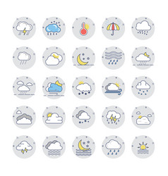 Weather colored line icons 1 vector