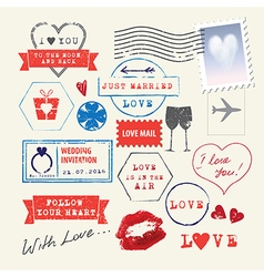 Wedding and Valentines Day stamp set vector
