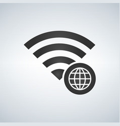 wifi connection signal icon with globe icon in vector image
