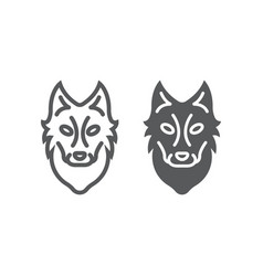 Wolf line and glyph icon animal and zoo dog sign vector