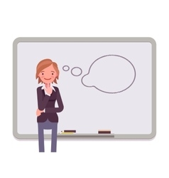 Woman against the whiteboard with drawn dialogue vector