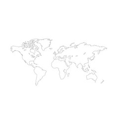 world map outline planet earth line vector image