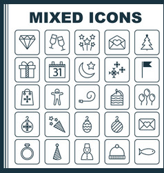 Year icons set collection of tree toy champagne vector