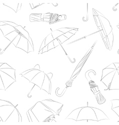 Hand drawn umbrellas pattern vector image