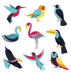 set of logo design elements - birds signs vector image