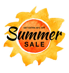 summer sale banner with watercolor sun background vector image vector image
