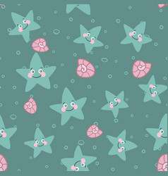 blue cartoon seamless pattern with cute starfish vector image
