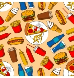 Fast food pattern with snacks and beverages vector image