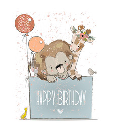 little lovely lion with giraffe mouse and birds vector image vector image
