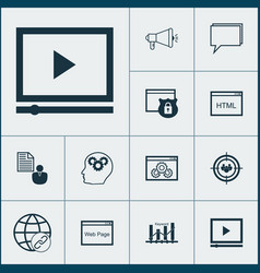 seo icons set collection of intellectual process vector image