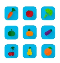 Set of flat icons - fruits and vegetables vector image vector image