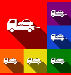 tow car evacuation sign set of icons with vector image