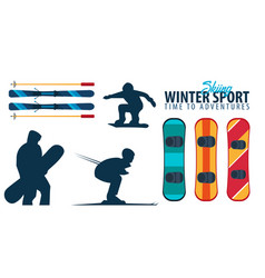 winter sport collection ski and snowboard vector image