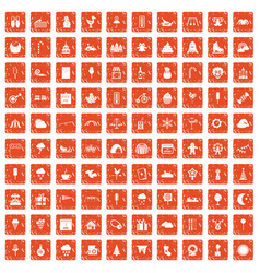 100 childrens parties icons set grunge orange vector image vector image