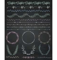 Chalk Drawing Seamless Borders Frames Dividers vector image vector image