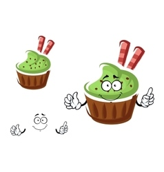 Cupcake character with cream and waffle rolls vector image vector image