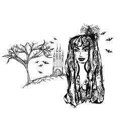Halloween witch - doodle grunge portrait vector image